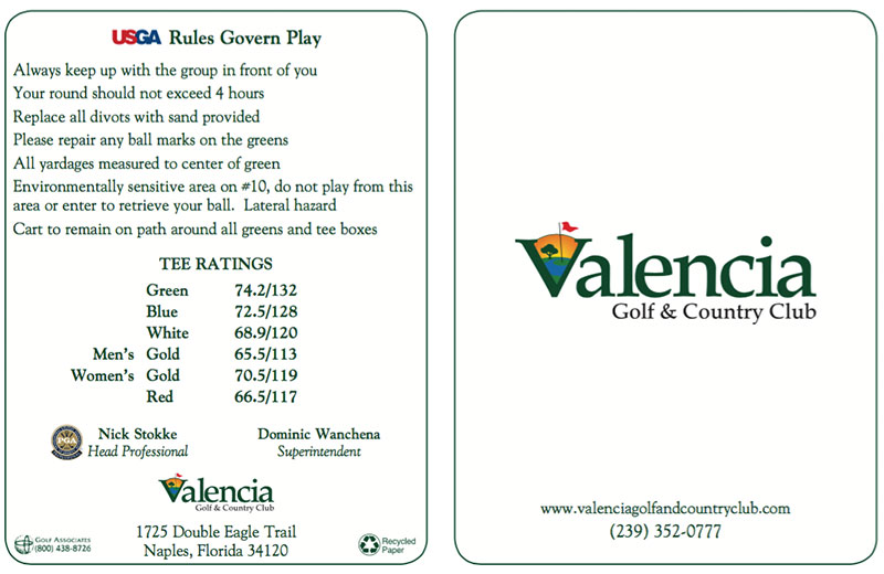 Valencia Golf Course Score Card 2016